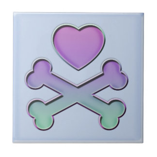Heart And Crossbones Pastels Small Square Tile