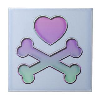 Heart And Crossbones Pastels Tile