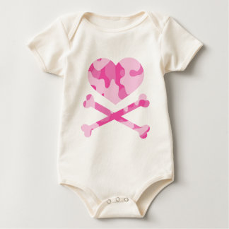 heart and crossbones pink camo baby bodysuit