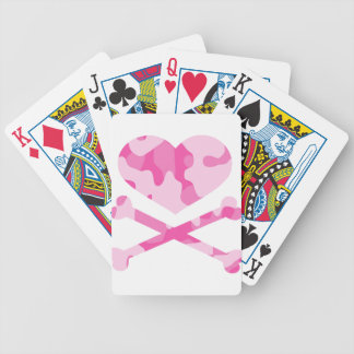 heart and crossbones pink camo bicycle playing cards