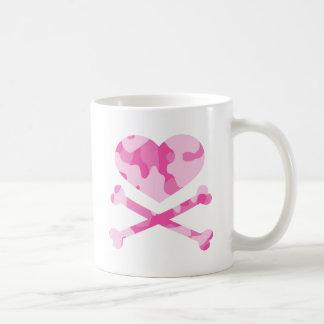 heart and crossbones pink camo coffee mugs