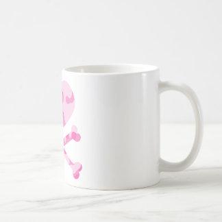 heart and crossbones pink camo coffee mug