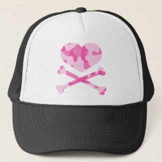 heart and crossbones pink camo trucker hat