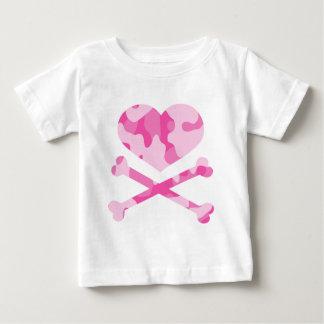 heart and crossbones pink camo infant t-shirt