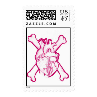 Heart and crossbones postage