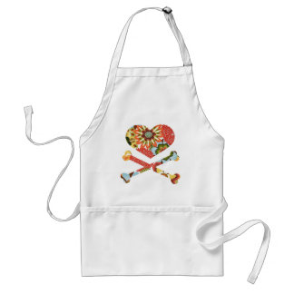 heart and crossbones retro flowers aprons