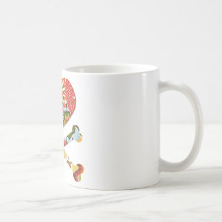 heart and crossbones retro flowers coffee mug
