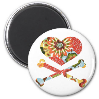 heart and crossbones retro flowers 2 inch round magnet