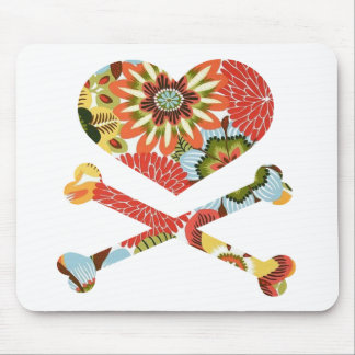 heart and crossbones retro flowers mouse pad