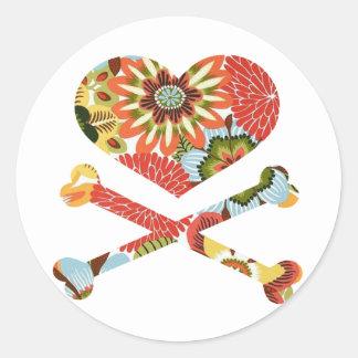 heart and crossbones retro flowers stickers