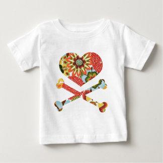 heart and crossbones retro flowers infant t-shirt