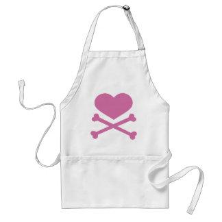 heart and crossbones soft pink adult apron