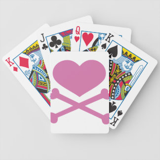 heart and crossbones soft pink bicycle playing cards