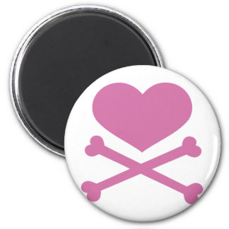 heart and crossbones soft pink 2 inch round magnet