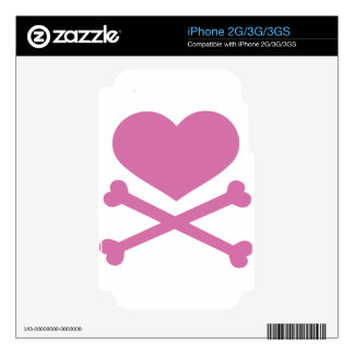 heart and crossbones soft pink skins for iPhone 3