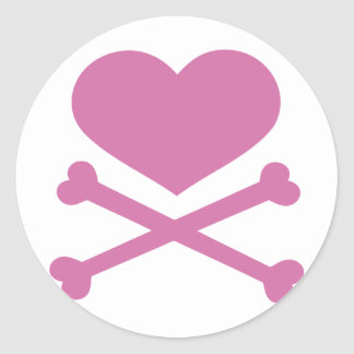 heart and crossbones soft pink stickers