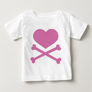 heart and crossbones soft pink t shirts