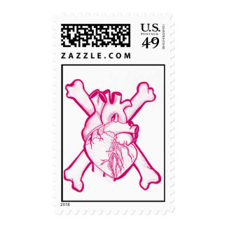 Heart and crossbones stamp