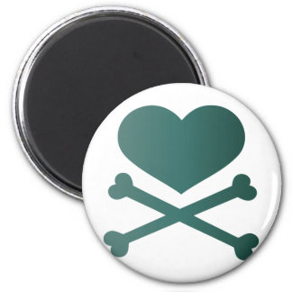 heart and crossbones teal gradient 2 inch round magnet