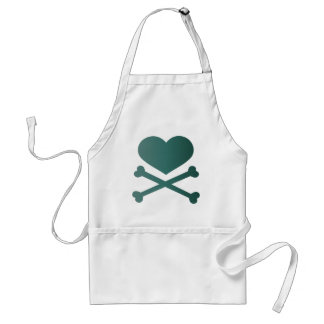 heart and crossbones teal gradient aprons