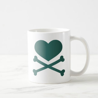 heart and crossbones teal gradient coffee mug