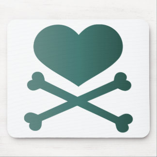 heart and crossbones teal gradient mouse pad