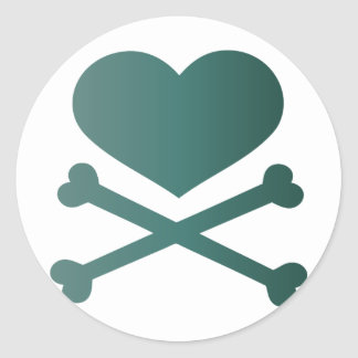 heart and crossbones teal gradient round stickers