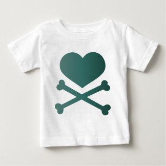 heart and crossbones teal gradient t shirts