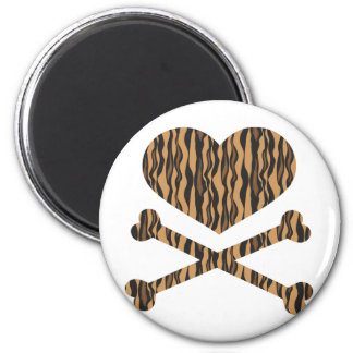 heart and crossbones tiger 2 inch round magnet