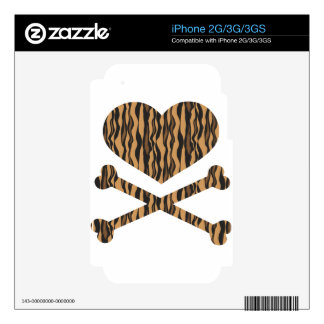 heart and crossbones tiger iPhone 3GS decal