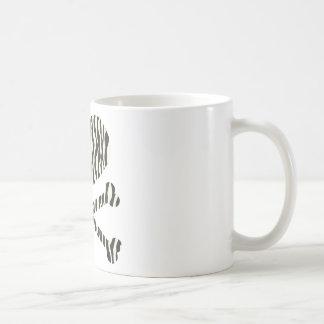 heart and crossbones zebra stripes coffee mug