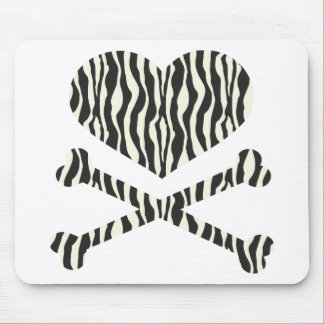 heart and crossbones zebra stripes mouse pad