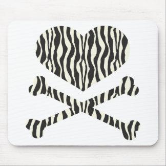 heart and crossbones zebra stripes mouse pad
