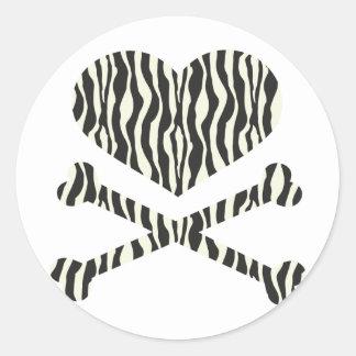 heart and crossbones zebra stripes sticker