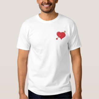 Heart and Cupid Arrow Embroidered T-Shirt