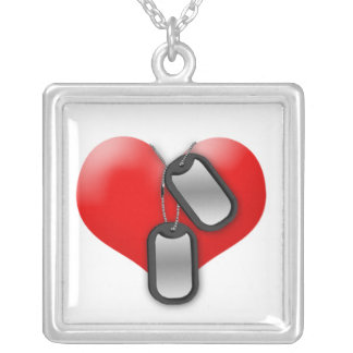 Heart and Dog Tags Square Pendant Necklace