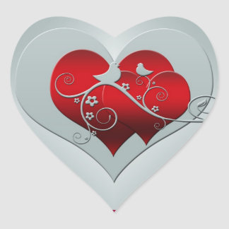 Heart and doves in silver and red heart sticker