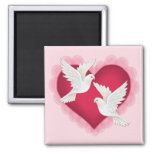 Heart and Doves - Pink 2 Inch Square Magnet