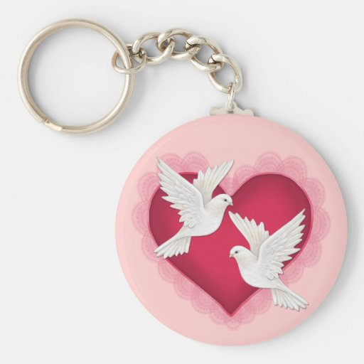 Heart and Doves - Pink Basic Round Button Keychain