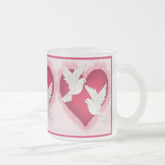 Heart and Doves - Pink Frosted Glass Coffee Mug
