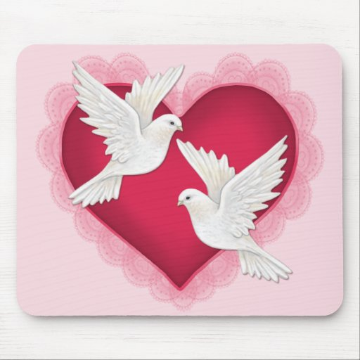 Heart and Doves - Pink Mouse Pad