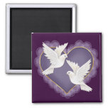 Heart and Doves - Purple 2 Inch Square Magnet