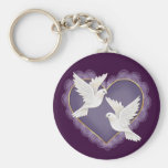 Heart and Doves - Purple Basic Round Button Keychain