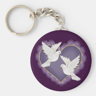 Heart and Doves - Purple Keychain