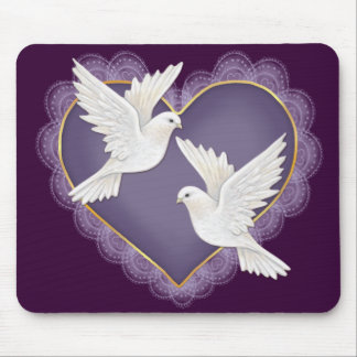 Heart and Doves - Purple Mouse Pad