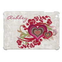 heart and floral illustration girly Ipad case
