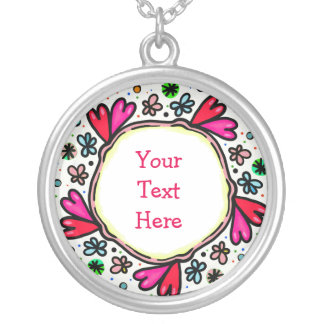Heart and Flower Doodle Personalized Text Silver Plated Necklace