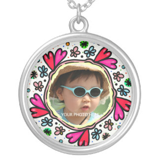 Heart and Flower Doodle Photo Silver Plated Necklace