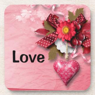 Heart and Flower Valentine Coaster