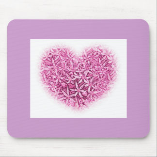Heart and Flowers Mouse Mat. Mouse Pad